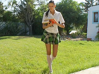 Schoolgirl strapping head