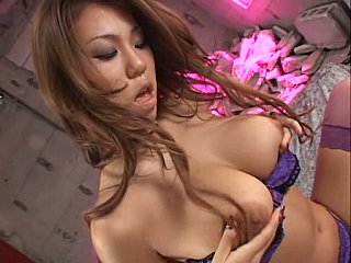 Bushy Asian with big natural tits masturbating and facesitting