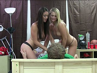 Two wild college girls share a jizz-shotgun