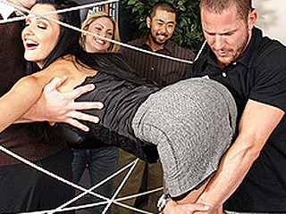 `This Day is the Brazzers team building day! Activities have been planned out for the employees in order to get to know and trust one some other. During The Time That playing `The Spider Web` Aletta gets caught up in the ropes and cant get out! As the employees move onto the next event Scott cuts throughout the web and frees Aletta. As we all know, hero's need to be rewarded! Aletta, being the sexiest hottie on earth, treats Scott to some real fuckin' Brazzers style team building. Letting him stick his dong in each one of her hawt sexy fuck holes! Damn!`