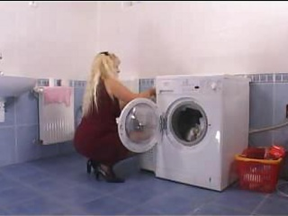 Mother Driving Close on In The Laundryroom