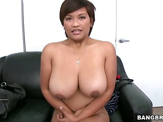 Non-professional latin chick with amazing substantial titties