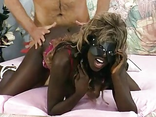 Masked German ebony girl gets a load - DBM Video