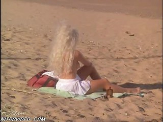 Wonderful Karen Miers Sunbathing at the Beach