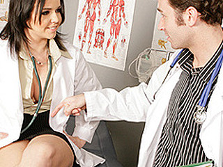 Dr.Emma is going on vacation and needs Dr.James to watch her gynecology practice whilst this babe's gone. Unfortunately this stud merely specializes in proctology and doesn't know how to properly investigate a woman. So Dr. Emma has to give him a personal step by step tutorial.