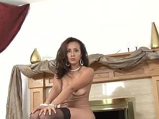 Spruce Anilos Diana bonks her cum-hole with a vibrator by the fireplace