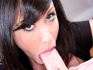 Beautiful Brunette hair Hair Blows Dick Gets Giant Cum Facial