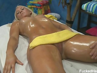 Sexy massage for 18 year old golden-haired beauty