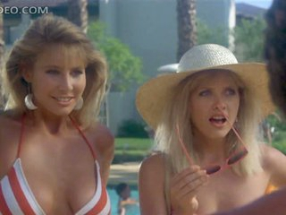 Retro Babes Barbara Crampton and Kathleen Kinmont Flirting Regarding Bikinis