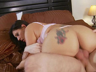 Raylene is back and this busty Latin Babe is just rarin' to rip this youthful stud's raiment off and get her sexy lips wrapped around his shlong.  That Babe finds herself riding that dong in the one and the other cowgirl positions in advance of lying back and letting him fuck her as deep as this chab can.