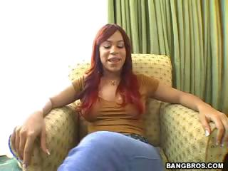 Redhead Chyanne is giving Castro a sexy blowjob on their way knees