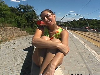 Cute girl talked into sucking cock behind a highway wall