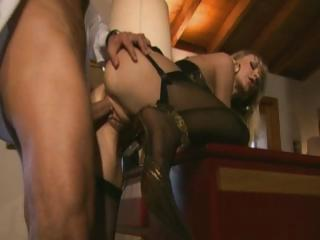 Blonde Euro sweetheart slurps on his blarney with an increment of exhausted enough receives her ass banged