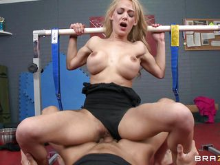 This very sexy golden-haired babe takes it hard in her pussy, making these nice round tits bounce. Look at that sexy ass, long golden-haired curly hair and gorgeous face, is she going to acquire sexy jizz all over 'em after this dude finishes fucking her shaved tight cunt? They are having some hard fucking in that gym room and she takes his hard penis from behind before he licks her wet crack , is she going to get cummed on her face in the end?