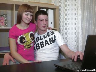 redhead teenage girl and her boyfriend getting some homework done!
