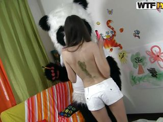 A tall slim chick gets to satisfy the panda bear! After he plays with her, just for enjoyment this babe kneels and does what she's good at. Now the panda can be a little foolish sometimes but be sure when it's about fucking he takes things very seriously