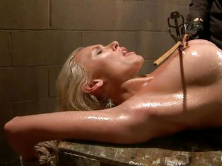 oiled golden-haired punished