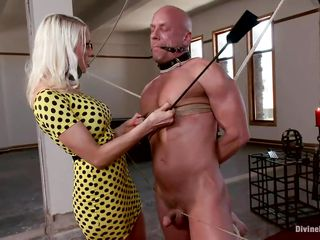 Hot blond mistress Lorelei has 3 slaves tied up with strings to each other and throat gagged. While dirty talking and playing with their nipples, that babe whips them and hurts their hard cocks. She rubs her tight booty to their dicks and laughs frenetically. They have a fun it so much and are desirous for more punishment!