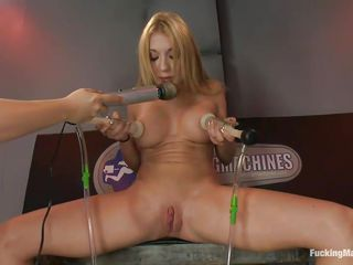 Amy Brooke is a blonde gorgeous milf who enjoys pleasuring herself. She moans with one as well as the other pang and pleasure while she vacuums her big tits. For more pleasure a friend comes in and begins rubbing her shaved pussy. After that, a fucking machine begins fucking on her snatch, making her scream.