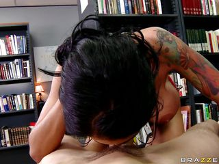 Angelina Valentine is getting her ass licked and pussy fucked in the library. This hawt Latin chick babe can't keep quiet as her cum-hole gets rammed. Then this babe puts her mouth to work as this babe swallows his hard rod before climbing on to ride it all the way down.