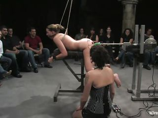 Delilah Strong is a blonde milf with petite natural milk sacks who enjoys being machine fucked in front of people. The brunette hair domina with huge milk sacks makes sure she gets what she had been waiting for. The gorgeous girl tied up in ropes likes when people are watching her pussy getting roughly penetrated.