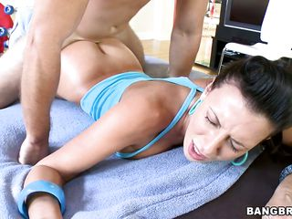 Rachael Star busty hawt milf is wearing roller skate shoes and getting the big hard knob from behind and the asses are wobbling during the jerks, her pussy is licked then she rides the dick with her heavy ass. She also sucks the penis. Imani Rose performs a blowjob at the end with other guy.