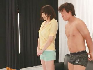 What do we have here? A hottie that's becoming a porn star or is it a private show? Either way Akane is smoking hot and that babe has a couple of big consummate boobs that are giving everybody an erection. She's not to precious at acting but that dude does everything, eating and fingering her pussy.