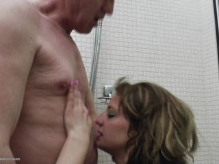 That guy must be about the age of her grandfather and he is surely loving the sight of her young nubile body as this babe strives to receive his tool up and running so that the fun and games can start as this babe kissed her on the throat and then proceeds to kiss and tease his body before giving him a blowjob.
