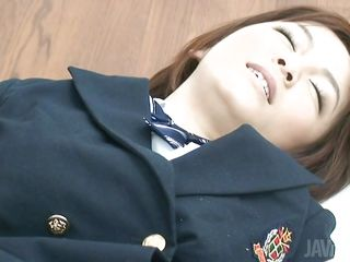 Don't u love bitches in uniform, especially Nippon ones? This girl had a hard day at work and the best way that babe relaxes is by licking my hard cock. I take up with the tongue her pussy over those white panties just to taunt her and then that babe kneels like an obedient, well raised Nippon woman and licks my erected wang with love
