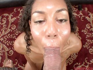 Leah works hard to make this man cum, she rubs, sucks and deepthroats this man giving her best. Look at her juicy lips as she gives head with lust and hopes that he will cover her pretty face with his jizz. Because this slut did such a good job he rewards her with his semen.