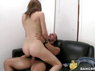 What a slutty chick Desirae is and that babe fucks with a pervert smile on her face. This pretty cutie rides the dude and takes his finger in her mouth previous to this chab drills her from behind. She knows that cum is about to be ejaculated from that hard penis so that babe knees in front of him and with that pretty face and innocent eyes that babe looks at her man masturbating awaiting for his jizz, this chab gives her a large load and now she's happy, look at that smiling face with cum all over it.