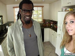 Blonde girl with small mounds and a juicy round ass is meeting a dark guy, then, she is quickly getting on her knees and begins to suck the dark man's huge penis. In what ways will be fucked and does all his dick enter her moist cunt?
