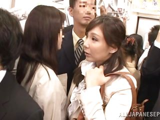 Stupid japanese twat is in a public place and all of a sudden this babe feels a hard cock on her ass. That babe gets all horny and starts playing with it and makes it harder. That babe is so happy 'cuz this babe knows this babe is going to be fucked. That babe keeps smiling and turns over at the stranger. They like each other and kiss!