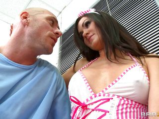 sexy gorgeous nurse takes a in agreement care be useful to her covering