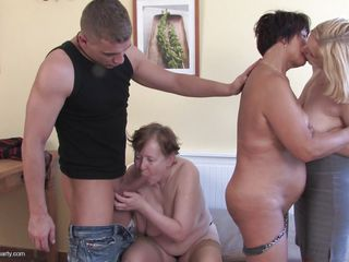 mature lesbians and a hard knob at their sex party