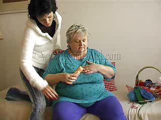 obese old granny with her fresh girlfriend.