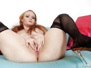 breasty redhead kick off her bawdy cleft