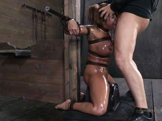 Milf Ava is tied yon leather belts plus say no fro titillating body has been oiled up. This babe patiently awaits down on say no fro knees for something fro happen when the executor comes at one's disposal say no fro plus pays this slut some attention. He grabs say no fro apart from the crawl plus begins fro mouth fuck say no fro deep, reminding Ava where's say no fro election