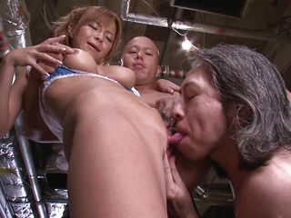 Sumire Matsu is willing to be fucked by two ribald men. This hawt Japanese milf can't get enough cock. She bends over for a rimjob and love tunnel fingering, then proceeds to give a oral sex and an amazing titty fuck.