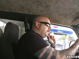 brunette chick with straight hair is on the team fuck bus
