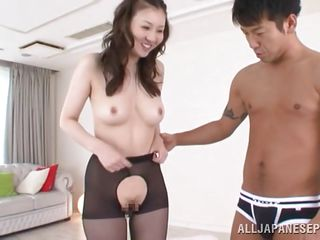 Yui is a cutie, she has a charming smile, petite pleasing titties and a big sexy booty that makes any straight guy wanna fill it up. At first she kneels and gives head to the lucky dude sucking it with so much pleasure that he goes insanely horny. He spread her legs and inserts his hard knob deep in that sexy booty