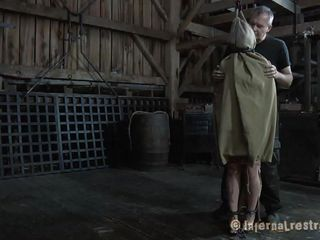 With a bag on her head Sasha is about to experience smth very interesting. The man brought her in this barn and started playing with her and taking those clothes off. This chab rips her panties and then tries that big round ass with his hard cock. Wanna know what else he will do with her?