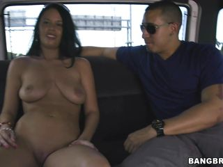 sexy brunette vera vaughn in group sex bus