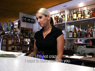Lenka is a hot blonde bartender and agrees to go down on a lascivious stranger who approaches her at the bar. That babe gets on her knees in the back and starts to take up with the tongue that big hard 10-Pounder passionately. That guy picks up her shirt and let her suck because this is what they both want. Wanna watch her giving head? Check it out!