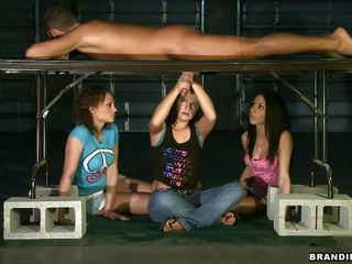 All a guy needs to do is to lay on that table and await to be milked by those lascivious sluts. This glory hole allows the stud to relax while getting his dong sucked by those lascivious bitches. Brandi and her friends are the sluts today, and they all pleasure the dick orally and manually. Wish I was him!