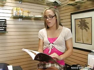 Kara Novak is working alone in a bookstore on a slow day. This newborn begins foretoken evidence Kama Sutra, or rather with bated breath at slay rub elbows with pictures, which gets her hot. This newborn begins rubbing herself, only to execrate interrupted hard by slay rub elbows with bigwig calling. Then, in comes a customer and their eyes meet. Awww, how sweet.