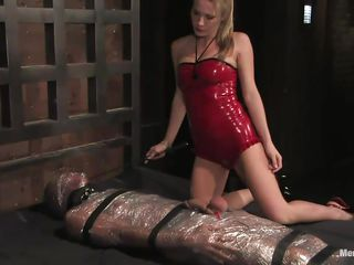 harmony hurts, uses, and pleases her plastic-wrapped slave