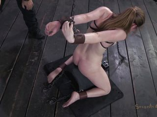 knelt white chick dominated by a black penis