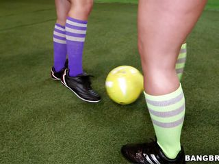A boring game of soccer turns in a hot foursome! Jada and Remy are two very beautiful babes with hot round butts that are not only good at playing soccer but like other kind of balls too! The guys take off their panties and start to take up with the tongue these bubble butts before the babes kneel and return the favor by engulfing knob
