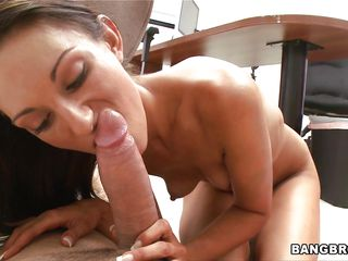 Hot brunette chick is giving a oral stimulation to a fellow that is lying on the ground. This babe starts to ride his big hard cock, then she gives him another blowjob. After that she acquires on the desk and acquires fucked in missionary position. This babe receives his ball cream on her pretty face.